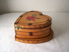 Large Wooden Heart Shaped Box - Woodburned Trinket Chest - Jewelry Box…