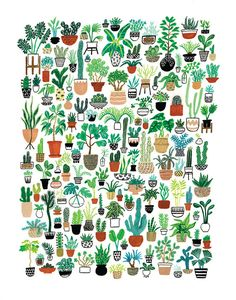 Bring some major plant action into your life! This Plant Party print depicts a ton of colorful houseplants, cacti and succulents in different patterned pots. Whether you're a green thumb or you can't keep plants alive (like me), this print would look great on the wall of any plant lover!