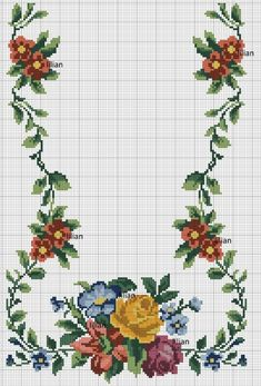 Such a beautiful floral border Cross Stitch Heart, Cross Stitch Flowers, Cross Stitch Designs, Cross Stitch Patterns, Cross Stitching, Cross Stitch Embroidery, Free To Use Images, Vintage Cross Stitches, Flower Coloring Pages