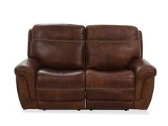 Nailhead-Accented Leather Power Reclining Loveseat in Brown Living Room Seating, Living Room Furniture, Living Rooms, Leather Reclining Loveseat, Genuine Leather Sofa, Power Recliners, Upholstered Chairs, Innovation Design, Seat Cushions