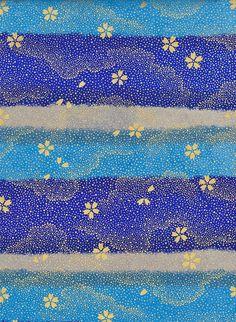 Gold Grey Blue Japanese Yuzen Chiyogami Washi Paper by mosaicmouse
