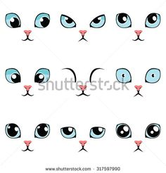 Set of funny cartoon blue cat eyes isolated on white. Set of funny cartoon blue cat eyes isolated on white. Kawaii Drawings, Cartoon Drawings, Animal Drawings, Easy Drawings, Cartoon Cats, Cat Eyes Drawing, Realistic Eye Drawing, Draw Eyes, Woman Drawing