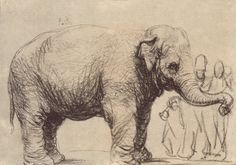 Rembrandt van Rijn: Drawings AN ELEPHANT, IN THE BACKGROUND A GROUP OF SPECTATORS c. 1637