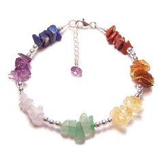 Chakra bracelet gemstone chips and Sterling silver. $26.00, via Etsy.