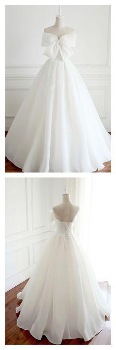wedding dresses 2018, simple wedding dresses, white wedding dresses, wedding dresses with bowknot, a line wedding gown #weddingdresses #simibridal