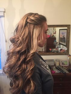 Loose curls with a braid by me