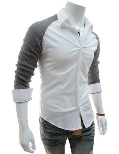 Men's Knit Sleeves Stretchy Dress Shirt Smart Casual Outfit, Casual Wear For Men, Stylish Mens Outfits, Casual Outfits, Men's Shirts And Tops, Casual Shirts, Kurta Pajama Men, Look 2018, African Clothing For Men