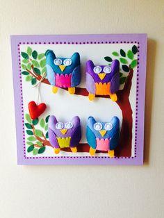 Cuadro de búhos para decorar el dormitorio.  Pedido listo para una princesa !