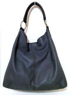 8c552219a8 LUCKY BRAND Slate Blue-Gray Whipstitch Pebbled Leather Hobo Handbag Purse |  eBay