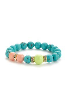 Turquoise & Peach Jade Stretch Bracelet