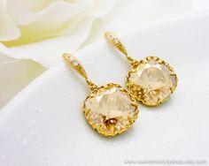 Bridal Drop Earrings Wedding Dangle Earrings Bridesmaid Gift Champagne Golden Shadow Swarovski Crystal Square Drops & Cz Ear Wires. $28.80, via Etsy.