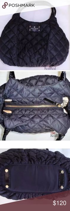 Kate Spade Black Quilted Nylon Tote Kate Spade Black Quilted Nylon Tote. Used condition. Has mark on side as shown in pic. Good condition. kate spade Bags Totes