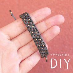Macrame bracelet with pearls DIY - Makramee Armband mit Perlen Macrame Bracelet Patterns, Macrame Bracelet Tutorial, Diy Friendship Bracelets Patterns, Diy Bracelets Easy, Bracelet Crafts, Macrame Jewelry, Macrame Bracelets, Diy Jewelry Rings, Diy Jewelry Unique