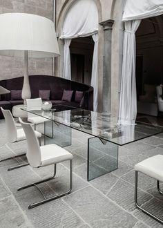 Extending rectangular crystal dining table QUASAR | Rectangular table - NAOS