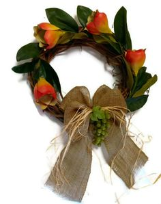 Hey, I found this really awesome Etsy listing at https://www.etsy.com/listing/151767693/wine-theme-wreath-grape-magnolia-rustic