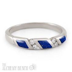 """Starry Night - Wind"" Lapis Lazuli and Diamond Alternative Wedding Band Alternative Wedding Rings, Handmade Engagement Rings, Diamond Alternatives, Lapis Lazuli, Diamond Jewelry, Wedding Bands, Opal, Pearls, Diamonds"