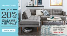 In Stores + Online! Up To 20 Percent Off Sofas, Chairs + Sectionals