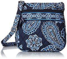 Vera Bradley Petite Double Zip Hipster Cross Body Bag, Blue Bandana, One Size Vera Bradley