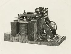 in 1840, Samuel Morse received the patent for his telegraph machine.  This photo from NYPL's Wallach Photography Division shows the original instrument that sent the first ever telegraph message 4 years later from the Washington end of the Washington-Baltimore telegraph line. Tumblr