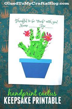 Stuck With You – Handprint Cactus Plant Printable - Valentine's Day Keepsake Gift Idea - Kids Craft DIY - Handmade Gifts Toddler Crafts, Preschool Crafts, Crafts For Kids, Abc Crafts, Daycare Crafts, Cactus Craft, Cactus Decor, Mothers Day Crafts, Valentine Day Crafts