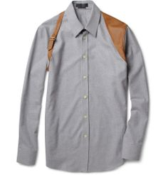 Alexander McQueen Slim-Fit Flannel and Leather Harness Shirt | MR PORTER
