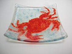 Red Crab Fused Glass Mini Dish ~ Handmade | Imagine-It-In-Glass - Glass on ArtFire