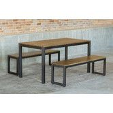 Found it at Wayfair - Loft 3 Piece Dining Set Dining Set With Bench, 3 Piece Dining Set, Outdoor Dining Set, Dining Bench, Dining Tables, Black Dining Room Furniture, Modern Furniture, Solid Wood Table Tops, Patio Bar Set