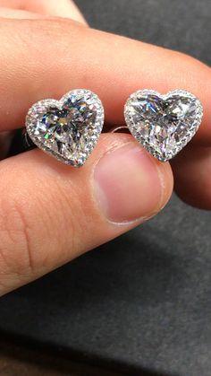 5ct Each Heart Shape Stud Earrings E Vvs Gia Certified