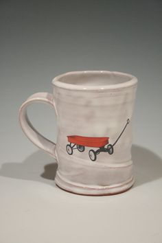 Mug with red wagon by rothshank on Etsy, $45.00
