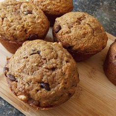 Zucchini-Chocolate Chip Muffins - Allrecipes.com Double recipe.  Replace oil w/unsweetened applesauce. Replace sugar with trivia baking blend, replace flour with white whole wheat flour, bake 25-30 min.  Amazing! Makes 26 or so. Freezes well.