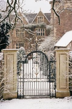 Manor house gate and snow.