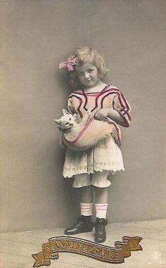 Vintage Postcard ~ Little Girl w/ Kitten