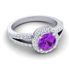 Modern Halo Pave Dari Ring