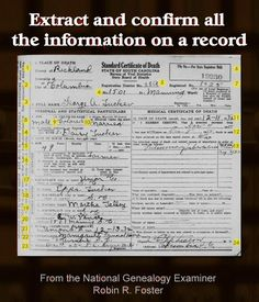 Extract and confirm all the information on a record http://www.examiner.com/article/extract-and-confirm-all-the-information-on-a-record #genealogy