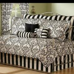 Arbor Daybed Comforter Set 10 Piece Bedding Black White Bed in A Bag Sheets Bedspread Daybed Comforter Sets, Daybed Sets, Daybed Covers, Bedding Sets, Comforters, Damask Bedding, Home Design, White Daybed, Online Bedding Stores