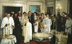 8 Feb 1968, the baptism of Crown Prince Felipe of Spain. He is held by his great-grandmother Dowager Queen Victoria Eugenia of Spain.