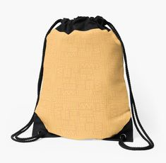 Golden Hand drawn geometric design in warm yellow tones Drawstring Backpack, Backpacks, How To Draw Hands, Warm, Top Artists, Yellow, Woven Fabric, Tote Bags, Tote Bag