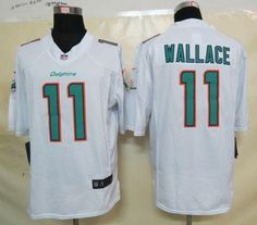 Nike Dolphins #11 Mike Wallace White Men's Embroidered NFL Limited Jersey @Emillia Kelly