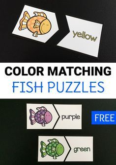 Color Matching Fish Puzzles Free printable color matching fish puzzles can help preschoolers and kindergarteners work on color and color word recognition in a fun way! Grab these easy to prep puzzles for home or classroom use! - Home School Kindergarten Colors, Preschool Colors, Teaching Colors, Free Preschool, Kindergarten Reading, Preschool Learning, Kindergarten Classroom, Early Learning, Preschool Activities