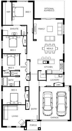 Bed 4 could be office, library, hobby and open into lr also New House Plans, Dream House Plans, House Floor Plans, Home Design Plans, Plan Design, Plan Garage, Steel Frame House, Dream House Interior, New Home Construction