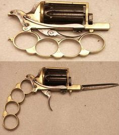 cool 3 in one brass knuckles knife and a gun