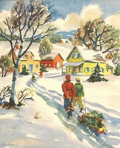 home with a tree by in pastel, via Flickr