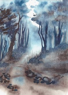 """The Trees Are Blue"" by TokyoMoonlight (Marcela),  watercolor. DEVIANTART: http://tokyomoonlight.deviantart.com/ TUMBLR: http://tokyomoonlightart.tumblr.com/ #watercolor #painting #art"