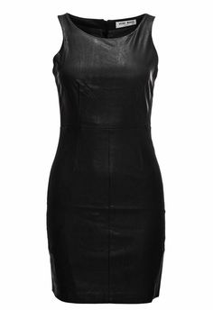 Women's shift dress by Vero Moda Waisted fit Round neckline Front made of imitation leather Zipper on back