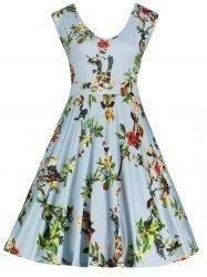 #Gamiss - #Gamiss V Neck Floral Print Sleeveless Plus Size Dress - AdoreWe.com