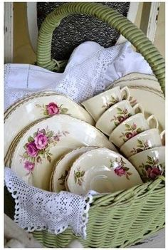 This would be cute way to display my old play China set.  Have needlework linens, too.