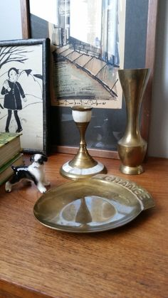Vintage brass candlestick holder with mother of pearl inlay. World decor. Bohemian. by fatdachshunddesigns on Etsy