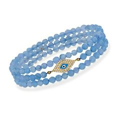 Set of Three Blue Agate Stretch Bracelets With .25 ct. t.w. CZs in 18kt Over Sterling