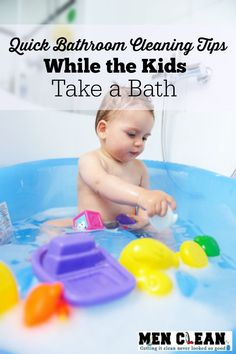 Quick ten minute bathroom touch up cleaning routine that you can do while the kids take a bath