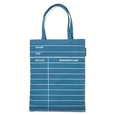Tote with old-school library card design.